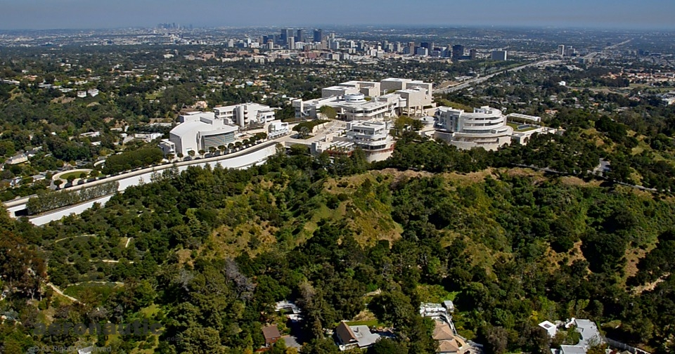 Aerial Photography Los Angeles - Getty Center Aerial View - Selling LA Frame Capture