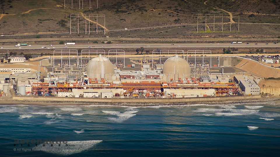 Aerial Photography San Diego - San Onofre Nuclear Power Plant Stock Photo