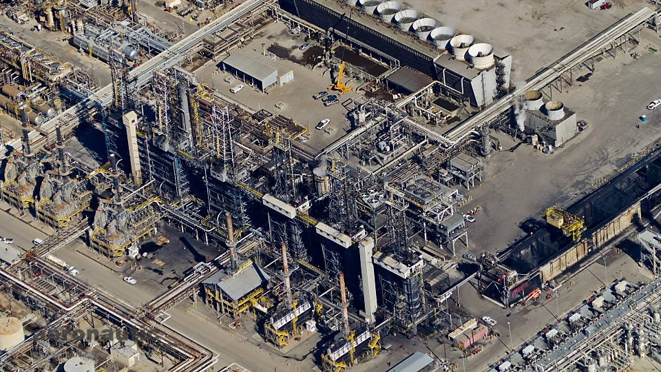 Oil Refinery Aerial Stock Photo