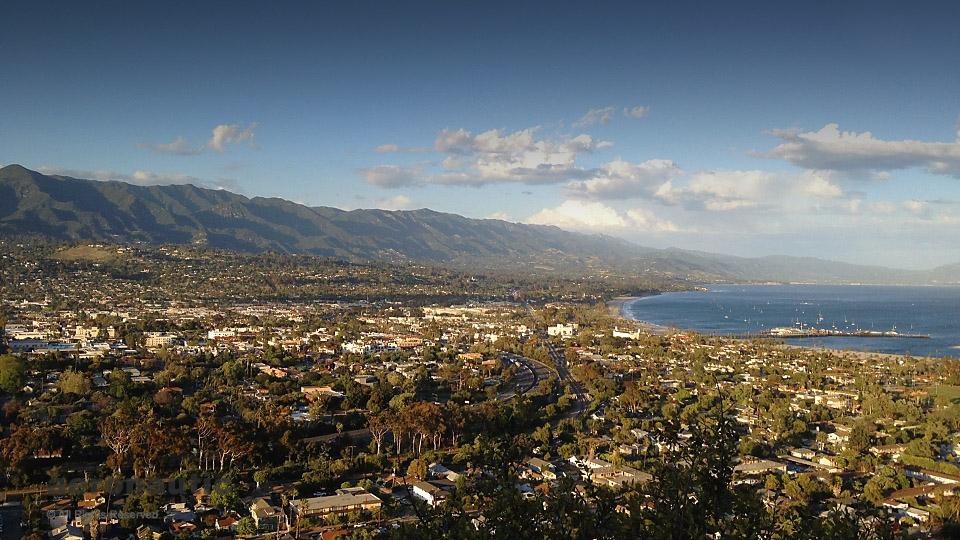 Aerial Photography Santa Barbara - Santa Barbara and Harbor Aerial Photo