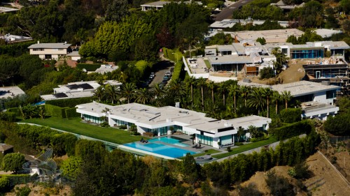 Aerial Photography Los Angeles - Hillside Mansion Aerial View picture