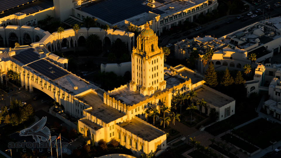 Aerial Photography Los Angeles - Aerial View Beverly Hills City Hall Sunset