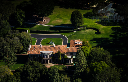 Aerial Photography Los Angeles - Aerial View Of Owlwood Estate Mansion