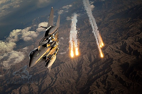 Military Stock Photos F-15E Stock Photos F-15E Strike Eagle - Combat - Flares - Afghanistan - Royalty Free
