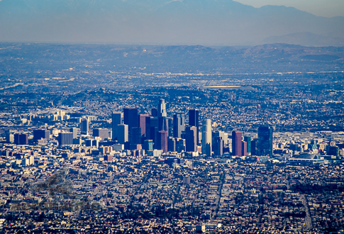 Los Angeles Aerial Stock Photo - Aerial View Downtown Los Angeles
