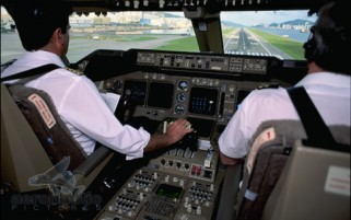 Airline Cockpit Stock Photo - Landing Boeing B-747-400 Kai Tak H