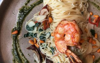 Pasta Stock Photo - Angel Hair Pasta with Prawn - Food Stock Photos
