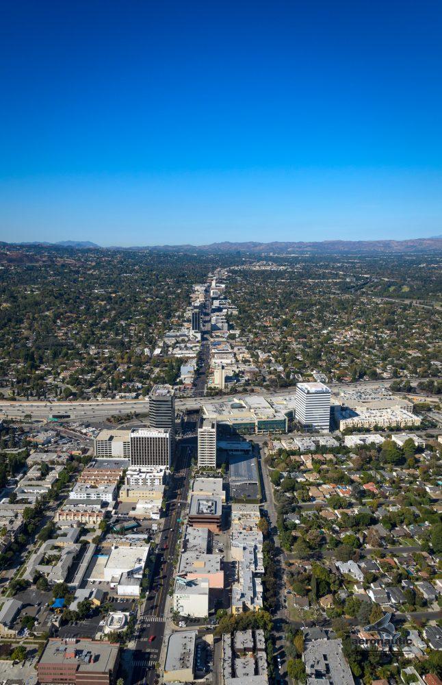 Aerial View Sherman Oaks, Ventura Blvd. and 405 Freeway