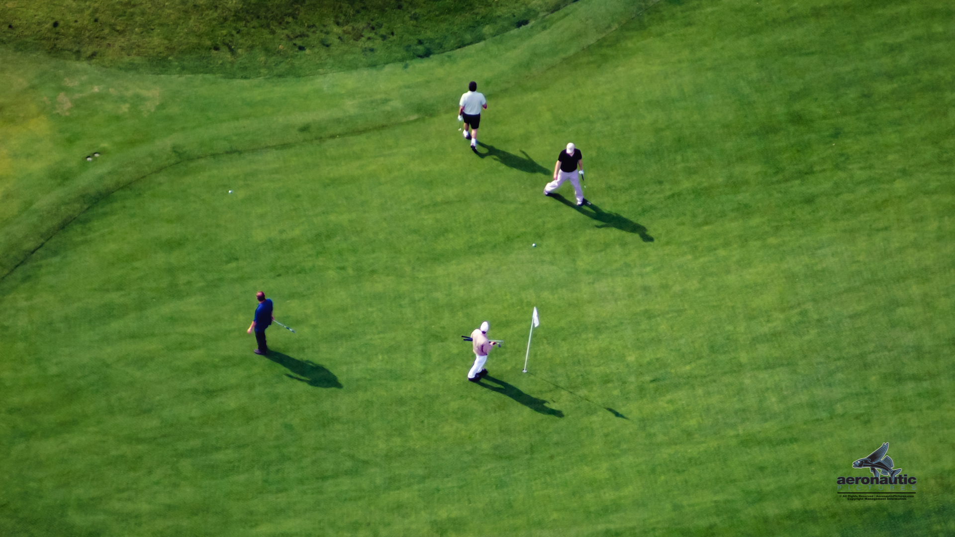 Golfers On Green Golfing Aerial View