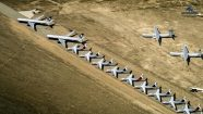 Airliners Parked In Desert Storage Aerial View
