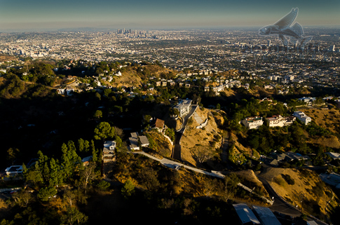 Los Angeles Stock Photos – Aerial View Hollywood Hills To Downtown Los Angeles
