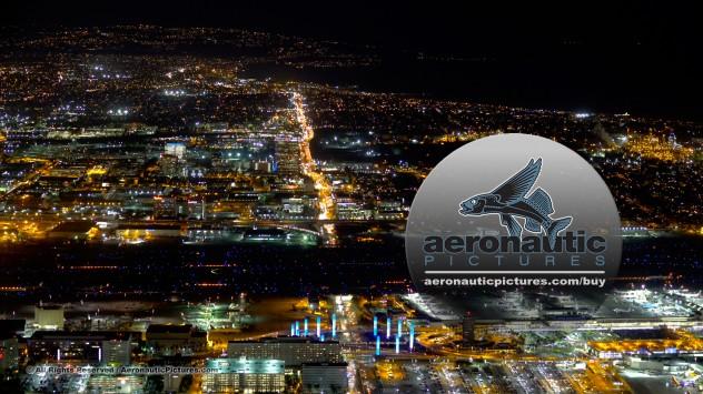 Los Angeles Aerial Stock Footage - Los Angeles International Airport - LAX Night 4K HD