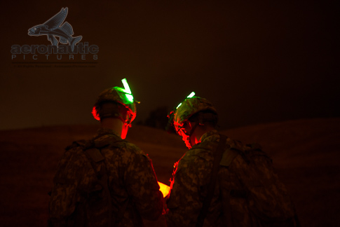 Soldiers Night Map Reading Military Stock Photos