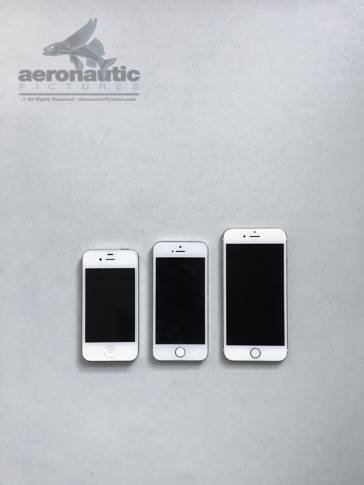 iPhone 4s, 5s, 6s Size Comparison - Technology Stock Photo