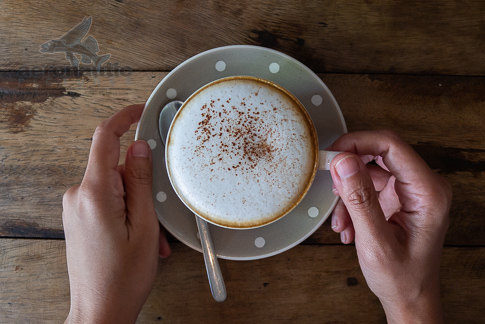 Coffee Stock Photo - Hands Holding a Cup of Cappuccino
