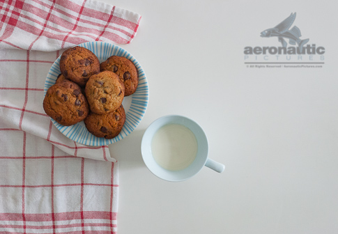 Food Stock Photo - Fresh Baked Chocolate Chip Cookies on a Plate and a Glass of Milk Royalty Free Download